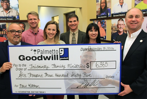 Palmetto Goodwill Donates $6,365 to Meet $50,000 Goal for Tricounty Family Ministries' New Kitchen