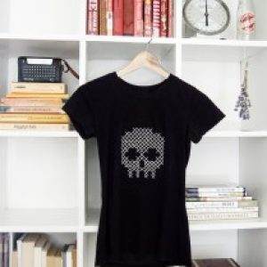 DIY Cross Sticthed Skull Tee Shirt 11
