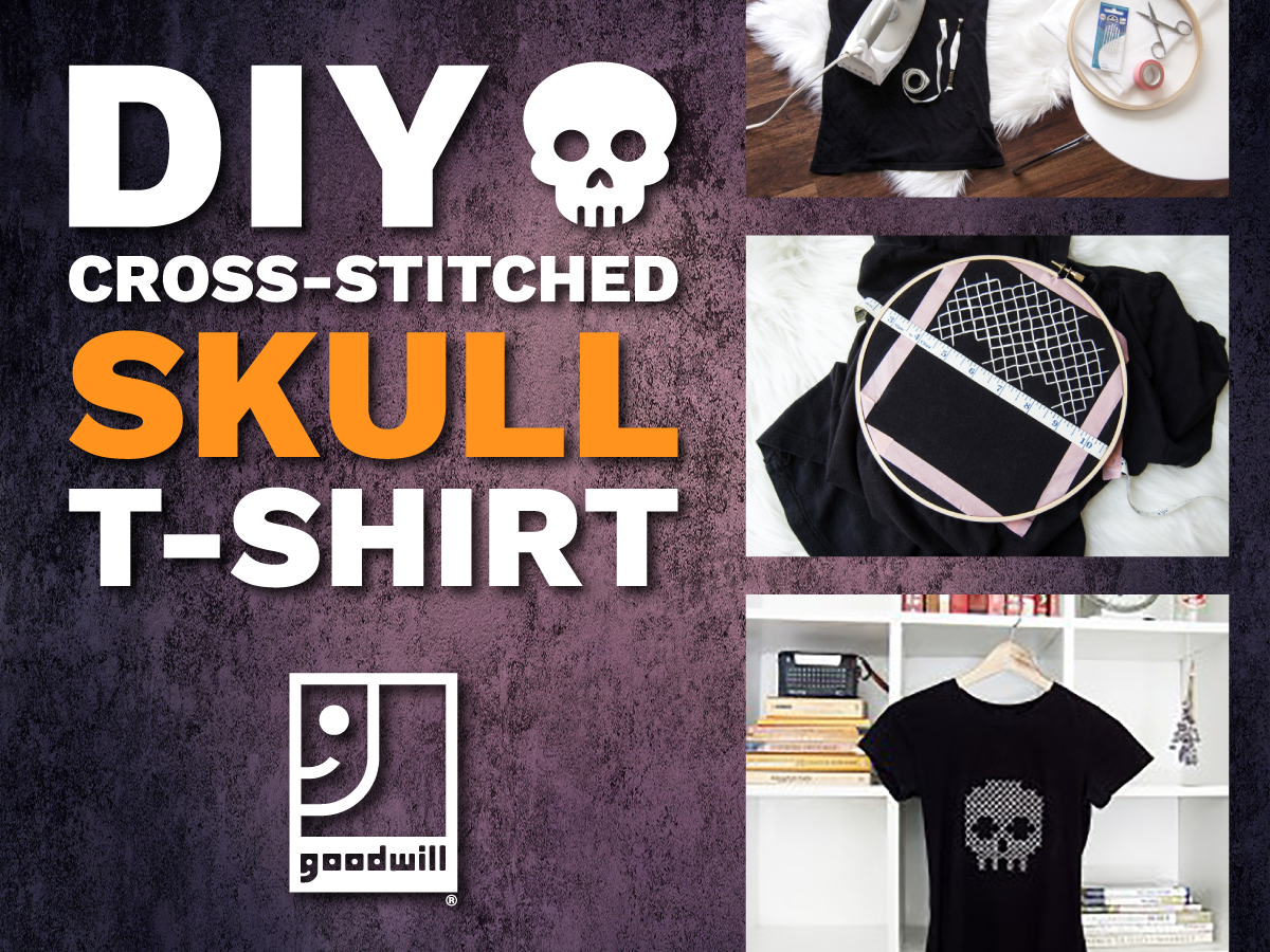DIY Cross-Stitched Skull T-Shirt