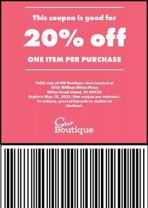 20 off store coupon gw boutique hilton head 1 scaled