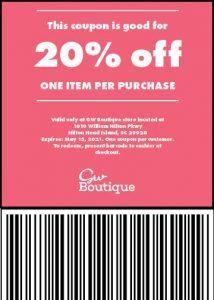 20 off store coupon gw boutique hilton head